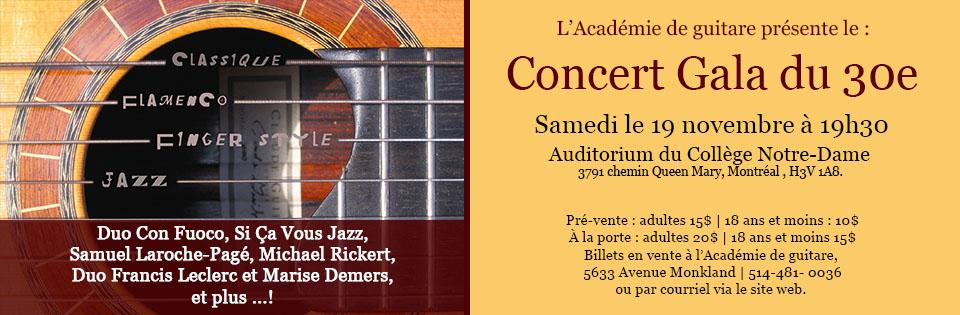 Concert - Gala 30e anniversaire - Académie de guitare